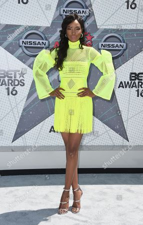 Stock Picture of Millen Magese arrives at the BET Awards at the Microsoft Theater, in Los Angeles