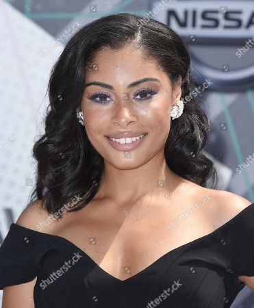 Katlynn Simone arrives at the BET Awards at the Microsoft Theater, in Los Angeles