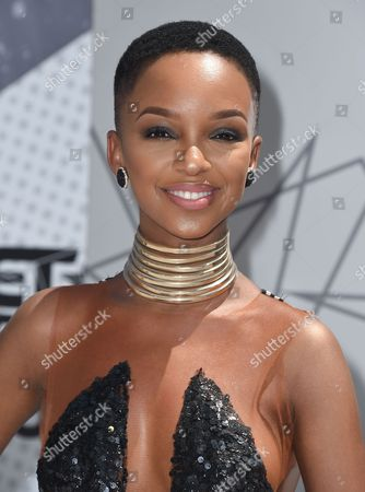 Nandi Mngoma arrives at the BET Awards at the Microsoft Theater, in Los Angeles
