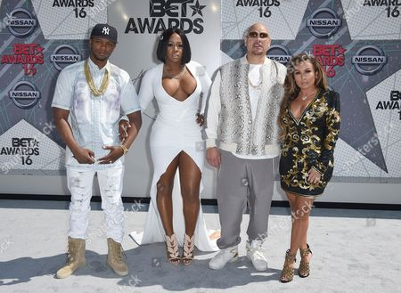 Stock Photo of Papoose, from left, Remy Ma, Fat Joe, and Lorena Cartagena arrive at the BET Awards at the Microsoft Theater, in Los Angeles