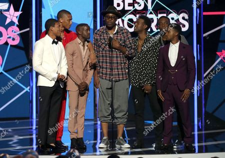 Wood Harris, center, and the cast of New Edition present the award for best actress at the BET Awards at the Microsoft Theater, in Los Angeles