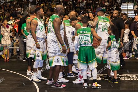 Young Greatness, from left, Marcellus Wiley, Silento, and Marsai Martin play at the BET Experience - Sprite celebrity basketball game held at the Los Angeles Convention Center on
