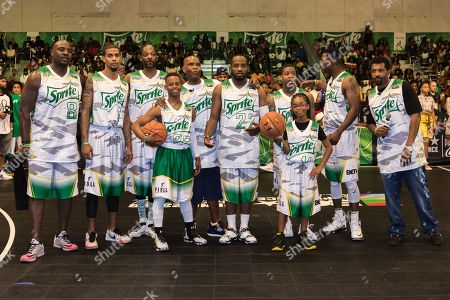 Marcellus Wiley, from left, Guy Dupuy, Snoop Dogg, Silento, Big Boy, Young Greatness, Lil Durk, Marsai Martin, Flex Alexander, and Deon Cole play at the BET Experience - Sprite celebrity basketball game held at the Los Angeles Convention Center on
