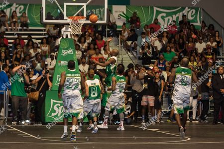 Stock Image of Young Greatness, from left, Rotimi, Floyd Mayweather, Lil Durk, and Marcellus Wiley play at the BET Experience - Sprite celebrity basketball game held at the Los Angeles Convention Center on