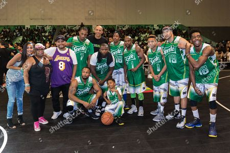 Stock Image of Lecrae, from left, Doug Christie, O.T. Genasis, Miles Brown, Nick Cannon, Floyd Mayweather, Rotimi, Kenny Dobbs, and Desiigner play at the BET Experience - Sprite celebrity basketball game held at the Los Angeles Convention Center on