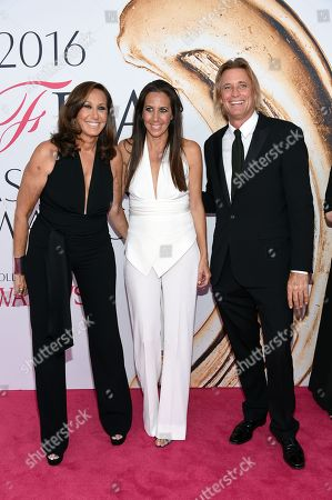 From left, Donna Karan, Gabby Karan De Felice, and Russell Jones arrive at the CFDA Fashion Awards at the Hammerstein Ballroom, in New York