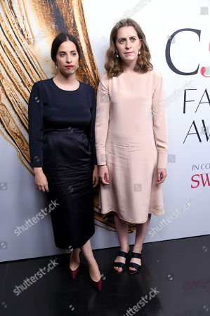 Stock Image of 2016 Accessories Designer of the Year, Floriana Gavriel and Rachel Mansur of Mansur Gabriel, pose at the CFDA Fashion Awards at the Hammerstein Ballroom, in New York