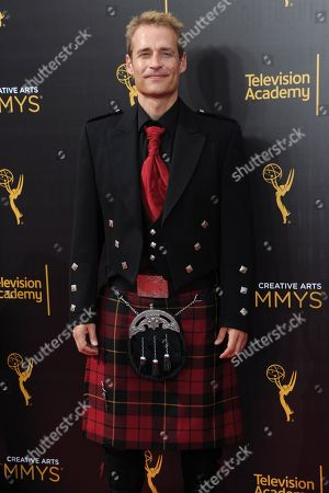 Paul Leonard-Morgan arrives at night one of the Creative Arts Emmy Awards at the Microsoft Theater, in Los Angeles