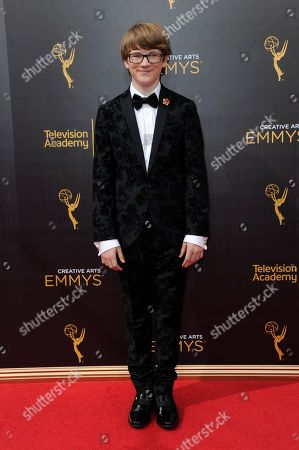 Aidan Miner arrives at night one of the Creative Arts Emmy Awards at the Microsoft Theater, in Los Angeles