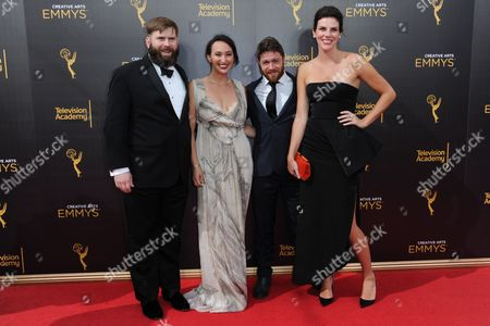 Jacob Bernstein, from left, Carly Mugo, Matt Parker, and Annabelle Dunne arrive at night two of the Creative Arts Emmy Awards at the Microsoft Theater, in Los Angeles