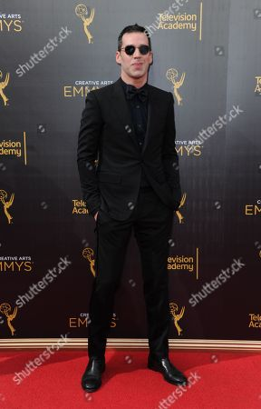 Rich Blomquist arrives at night two of the Creative Arts Emmy Awards at the Microsoft Theater, in Los Angeles