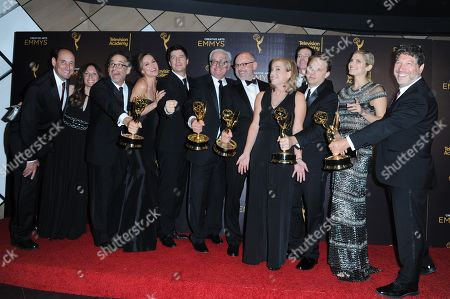 "Stock Image of David Wain, third from left, Ken Morino, Erinn Hayes, Keith Crofford, Rob Corddry, Zandy Hartig, Rob Huebel, Krister Johnson, Lake Bell, Jonathan Stern, and team pose in the press room with the award for outstanding short form comedy or drama series for ""Children's Hospital"" during night two of the Creative Arts Emmy Awards at the Microsoft Theater, in Los Angeles"