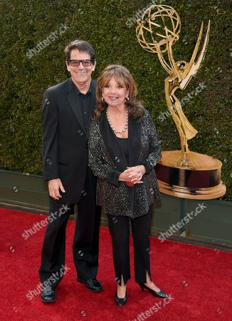 Anson Williams, left, and Dawn Wells arrive at the Daytime Creative Arts Emmy Awards at the Westin Bonaventure Hotel, in Los Angeles