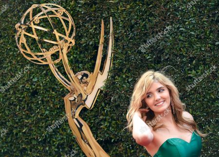 Victoria Vida arrives at the Daytime Creative Arts Emmy Awards at the Westin Bonaventure Hotel, in Los Angeles