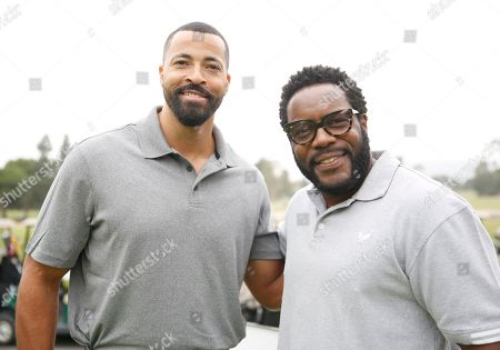 Timon Kyle Durrett, left, and Chad L. Coleman attend the 2016 Emmys Golf Classic presented by the Television Academy Foundation at the Wilshire Country Club, in Los Angeles