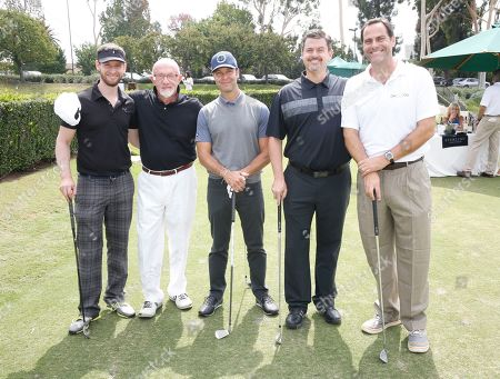 Jacob Robinson, from left, Jonathan Banks, Brett Weitz, Rob Wolken, and Andy Buckley attend the 2016 Emmys Golf Classic presented by the Television Academy Foundation at the Wilshire Country Club, in Los Angeles