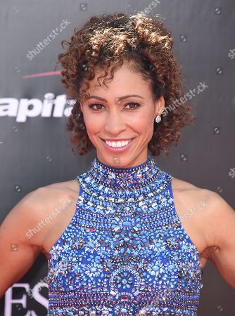 Sage Steele arrives at the ESPY Awards at the Microsoft Theater, in Los Angeles