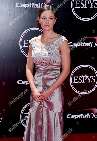 Elizabeth Marks, paralympic swimmer and sergeant in the United States military, arrives at the ESPY Awards at the Microsoft Theater, in Los Angeles