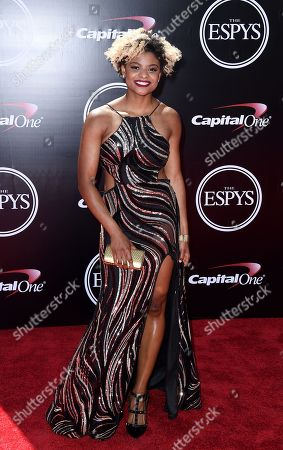Fencer Nzingha Prescod arrives at the ESPY Awards at the Microsoft Theater, in Los Angeles