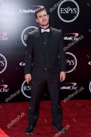 Professional skateboarder Pedro Barros arrives at the ESPY Awards at the Microsoft Theater, in Los Angeles