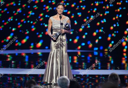 Sgt. Elizabeth Marks accepts the Pat Tillman award for service at the ESPY Awards at the Microsoft Theater, in Los Angeles