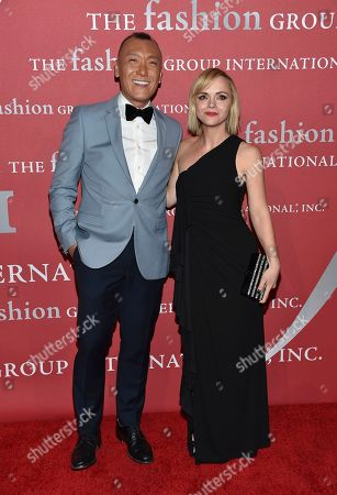 Joe Zee, left, and Christina Ricci attend The Fashion Group International's Night of Stars Gala at Cipriani Wall Street, in New York