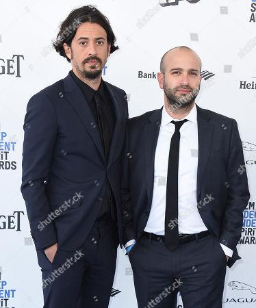 Josh Mond, left, and Antonio Campos arrive at the Film Independent Spirit Awards, in Santa Monica, Calif