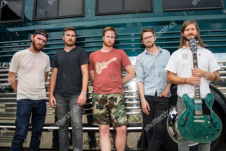 Tommy Putnam, from left, Tyler Ritter, Wes Bailey, Spencer Thomson, and Trevor Terndrup of Moon Taxi seen during day one of Forecastle Music Festival at Waterfront Park, in Louisville, Ky