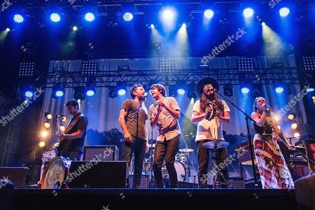 Bob Crawford, from left, Scott Avett, Seth Avett, Joe Kwon, and Tania Elizabeth of The Avett Brothers seen on day one of Forecastle Music Festival at Waterfront Park, in Louisville, Ky