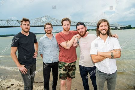 Stock Image of Tyler Ritter, from left, Spencer Thomson, Wes Bailey, Tommy Putnam, and Trevor Terndrup of Moon Taxi seen during day one of Forecastle Music Festival at Waterfront Park, in Louisville, Ky