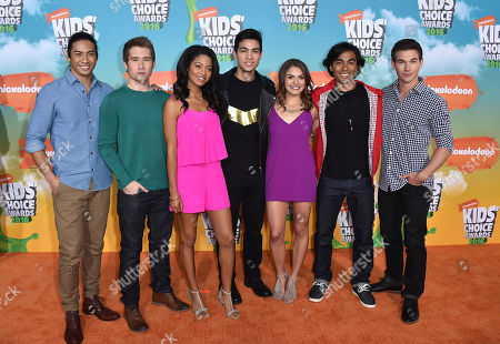 Stock Picture of Yoshi Sudarso, from left, Michael Taber, Camille Hyde, Davi Santos, Claire Blackwelder, Brennan Mejia, and James Davies arrive at the Kids' Choice Awards at The Forum, in Inglewood, Calif