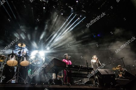 Al Doyle, from left, Nancy Whang, James Murphy, and Pat Mahoney of LCD Soundsystem perform on day 4 of Lollapalooza, in Chicago