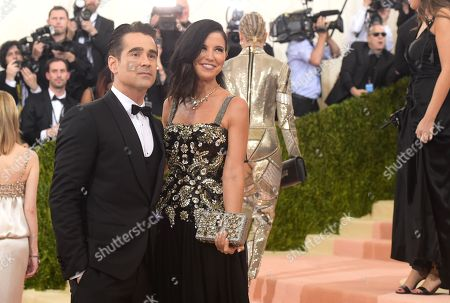 """Colin Farrell, left, and Claudine Farrell arrive at The Metropolitan Museum of Art Costume Institute Benefit Gala, celebrating the opening of """"Manus x Machina: Fashion in an Age of Technology"""", in New York"""