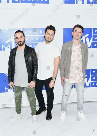 Jean Paul Makhlouf, from left, Alex Makhlouf, and Sam Frisch of Cash Cash arrive at the MTV Video Music Awards at Madison Square Garden, in New York