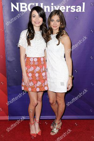Miranda Cosgrove, left, and Mia Serafino attend the 2016 NBC Universal Summer Press Day held at the Four Seasons Hotel, in Westlake Village, Calif