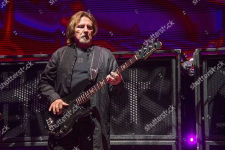 Geezer Butler of Black Sabbath performs during night one of Ozzfest meets Knotfest at San Manuel Amphitheater, in San Bernardino, Calif