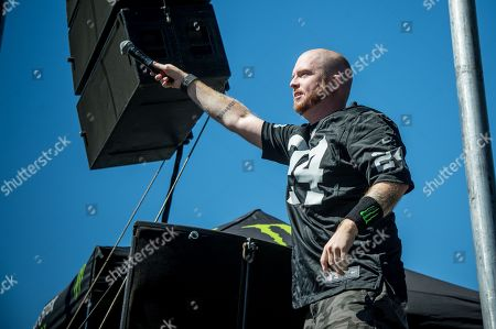 Stock Image of Jamey Jasta of Hatebreed performs during night one of Ozzfest meets Knotfest at San Manuel Amphitheater, in San Bernardino, Calif