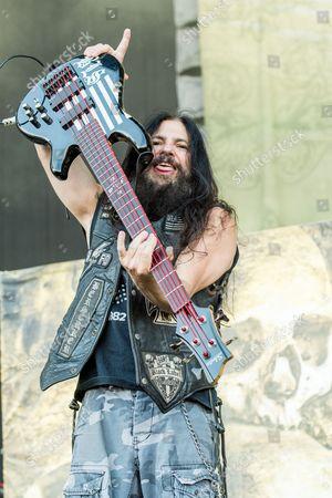 John DeServio of Black Label Society performs during night one of Ozzfest meets Knotfest at San Manuel Amphitheater, in San Bernardino, Calif