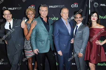 """Ted Raimi, from left, Michelle Hurd, Bruce Campbell, Lee Majors, Ray Santiago and Dana DeLorenzo attend the """"Ash vs Evil Dead"""" screening and panel discussion at the 2016 PaleyFest Fall TV Previews, in Beverly Hills, Calif"""