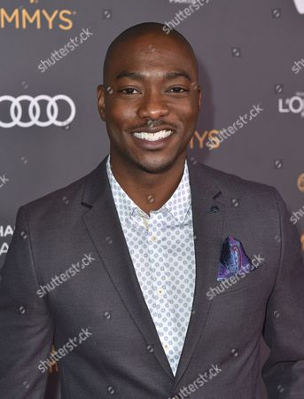 BJ Britt arrives at the Performers Nominee Reception presented by the Television Academy at the Pacific Design Center, in West Hollywood, Calif