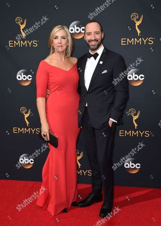 Martel Thompson, left, and Tony Hale arrive at the 68th Primetime Emmy Awards, at the Microsoft Theater in Los Angeles