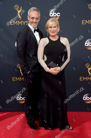 Michel Gill, left, and Jayne Atkinson arrive at the 68th Primetime Emmy Awards, at the Microsoft Theater in Los Angeles