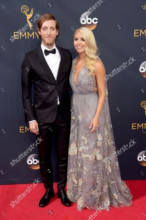 Thomas Middleditch, left, and Mollie Gates arrive at the 68th Primetime Emmy Awards, at the Microsoft Theater in Los Angeles