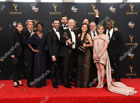 Stock Picture of Clea DuVall, from left, Gary Cole, Sufe Bradshaw, Reid Scott, Timothy Simons, Matt Walsh, Tony Hale, Julia Louis-Dreyfus, Kevin Dunn, Anna Chlumsky, and Sam Richardson from Veep winners of the award for outstanding comedy series pose in the press room at the 68th Primetime Emmy Awards, at the Microsoft Theater in Los Angeles