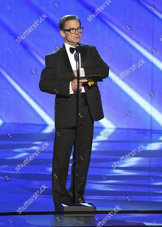 Peter Scolari appears on stage at the 68th Primetime Emmy Awards, at the Microsoft Theater in Los Angeles