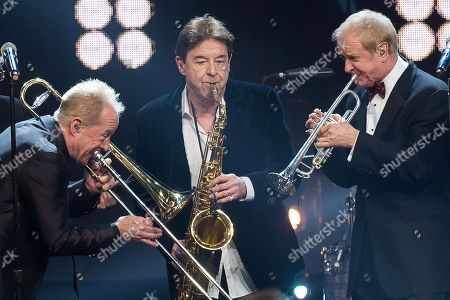 James Pankow, left, Walter Parazaider and Lee Loughnane from Chicago perform at the 31st Annual Rock and Roll Hall of Fame Induction Ceremony at the Barclays Center, in New York