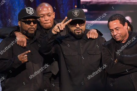 Inductees MC Ren, from left, Dr. Dre, Ice Cube and DJ Yella from N.W.A appear at the 31st Annual Rock and Roll Hall of Fame Induction Ceremony at the Barclays Center, in New York