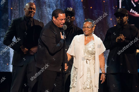Stock Image of DJ Yella and Kathie Wright appear at the 31st Annual Rock and Roll Hall of Fame Induction Ceremony at the Barclays Center, in New York