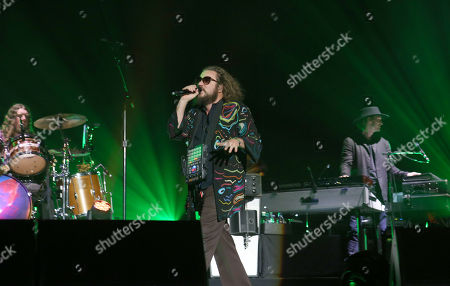Stock Image of Jim James, Tom Blankenship, Patrick Hallahan, Bo Koster and Carl Broemel with My Morning Jacket performs during the 2016 Shaky Knees Festival at Centennial Olympic Park, in Atlanta