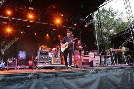 Stock Photo of Colin Meloy, Chris Funk, Jenny Conlee, Nate Query and John Moen with The Decemberists performs during the 2016 Shaky Knees Festival at Centennial Olympic Park, in Atlanta